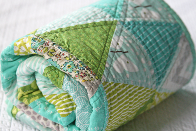FITF: baby spring triangle quilt | Film in the Fridge : equilateral triangle quilt tutorial - Adamdwight.com